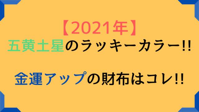 2021 五黄土星 ラッキーカラー